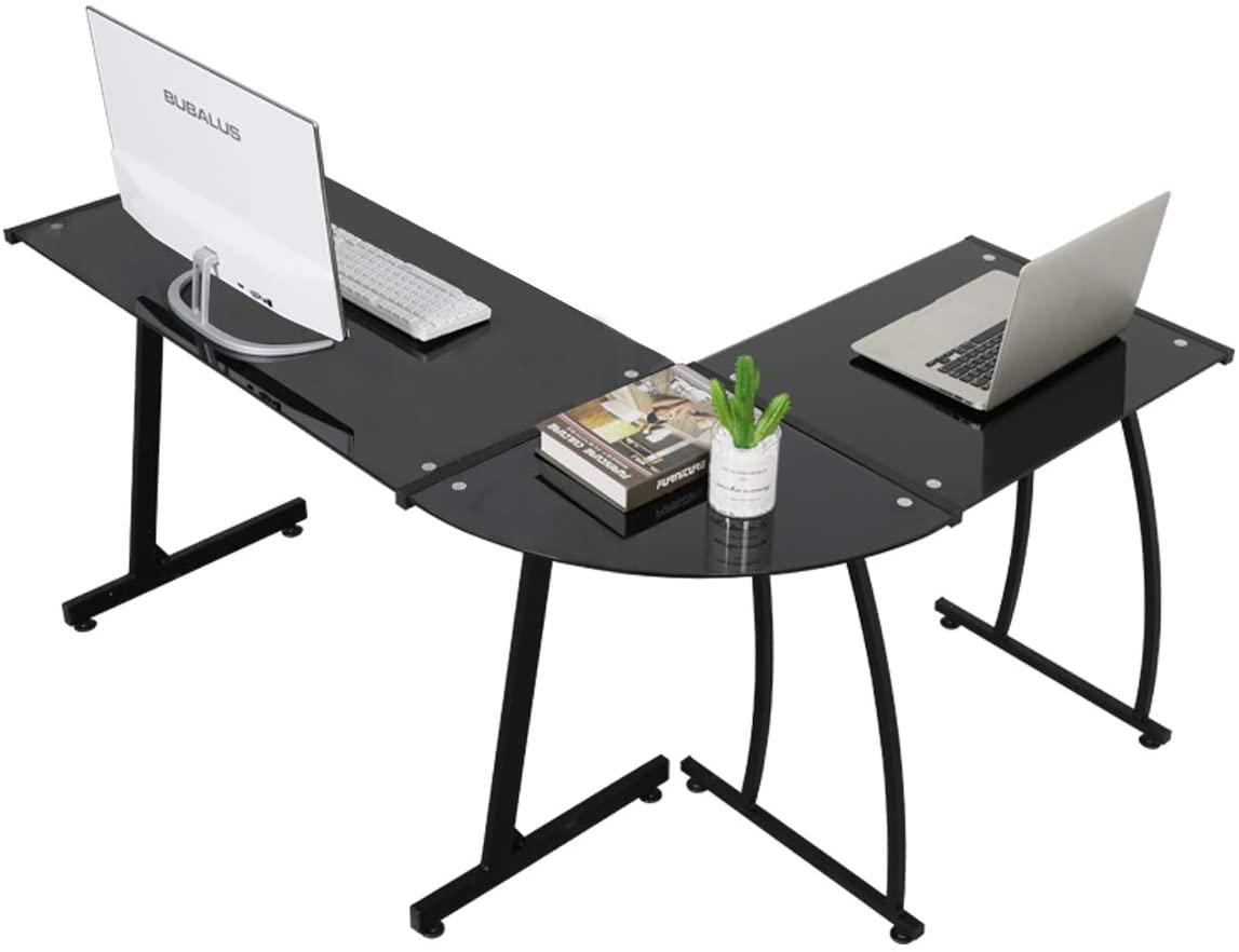 Greenfest L-Shaped Tempered-Glass Corner Desk