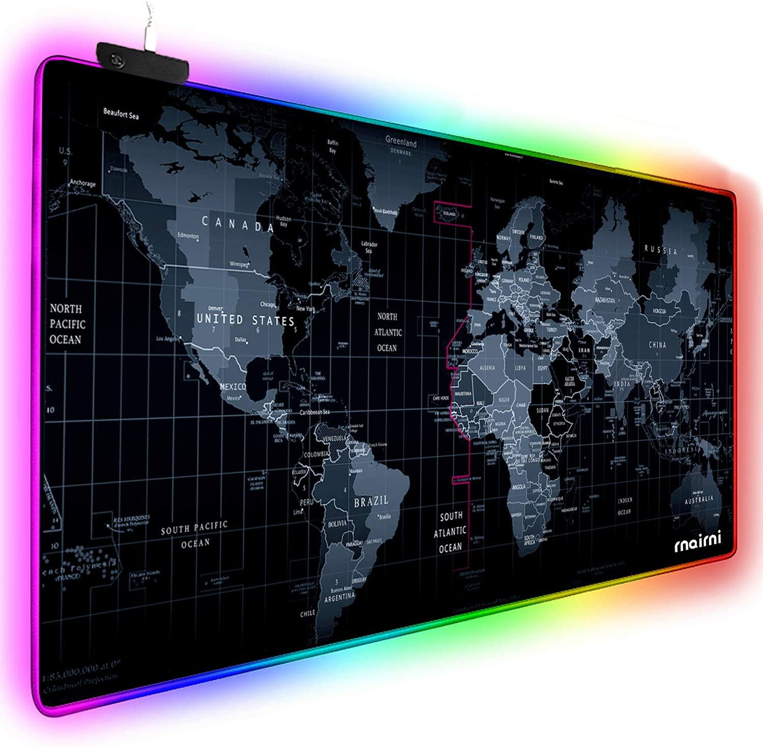 RGB World Map Gaming Mouse Pad