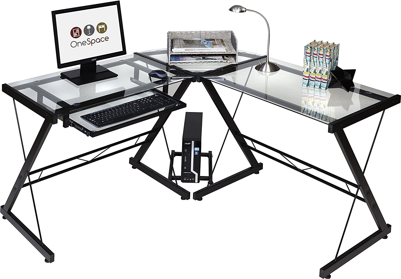 Oespace Ultramodern Glass L-shaped Desk
