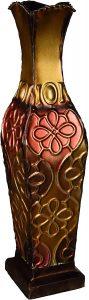 Elements Embossed Metal Decorative Vase