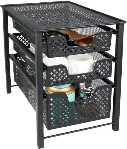 MustQ Stackable 3 Tier Organizer Baskets