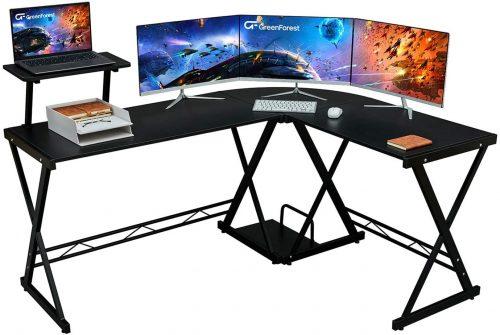 Green Forest L Shape Corner Computer Office Desk - Modern Office Desks