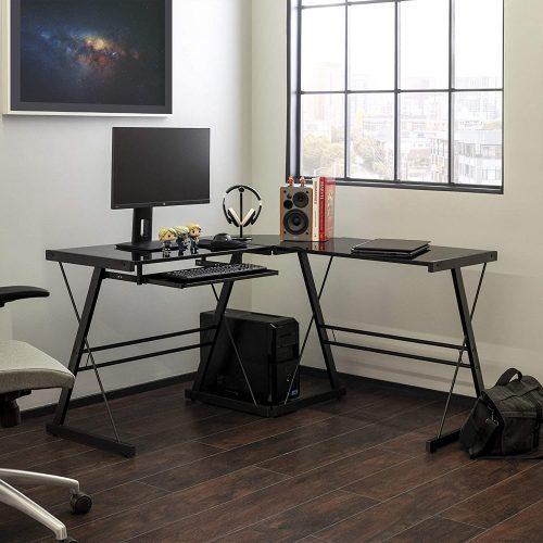 Walker Edison L-shaped Glass Office Desk - Modern Office Desks