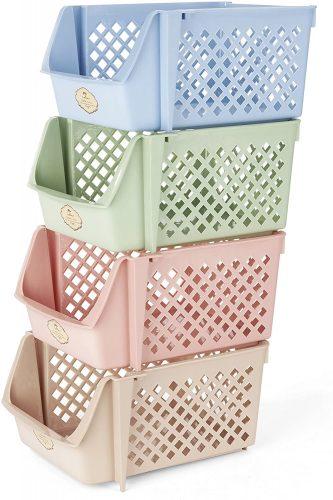 Titan Mall Stackable Basket - Plastic Storage Baskets