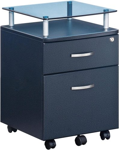 Techni Mobili Rolling File Cabinet with Glass Top