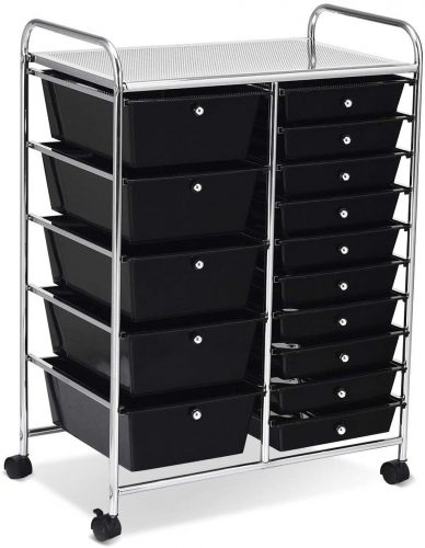 COSTWAYUS Plastic Rolling Cart with Drawer - Rolling Carts with Drawers