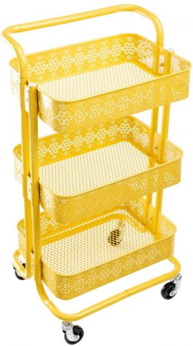 DOEWORKS Hollowed-Out Organizer Cart with Wheels - Rolling Carts with Drawers