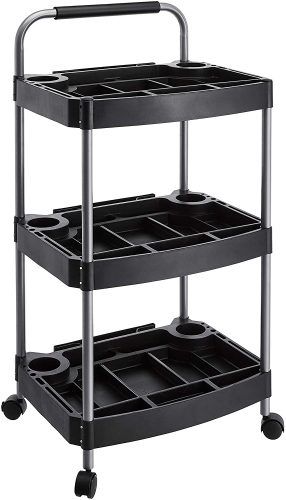 AmazonBasics 3-Tier Utility Cart - Rolling Carts with Drawers
