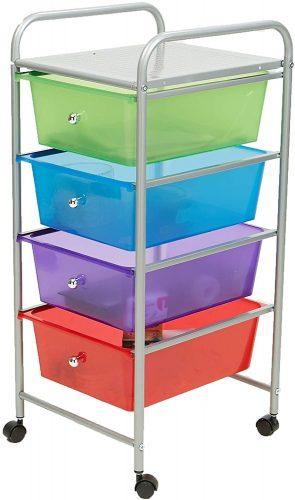 Mind Reader Rolling Storage Cart and Organizer - Plastic Storage Drawers