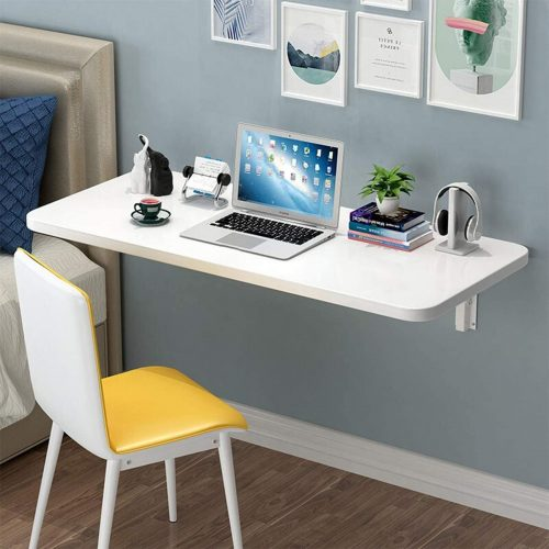 Folding Wall Table White Wall-Mounted Drop-Leaf Table