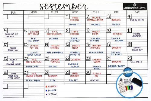 Dry Erase Wall Calendar by JTSCProducts - Whiteboard Calendars